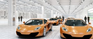 Interior view of the new McLaren plant in Woking designed by Foster + Partners