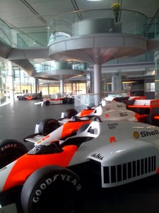 McLaren's technology centre where the F1 cars are on display
