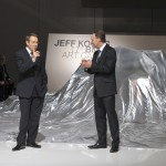 Jeff Koons and Ian Robertson in front of the 17 BMW Art Car at the Centre Pompidou