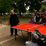 Jean Nouvel playing table tennis at the 2010 Serpentine Pavilion © NSBanks