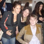 Art Against knives' Oliver Hemsley and Katy Dawe with artist Tracey Emin at the launch party