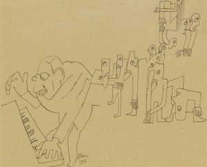 Caricature drawing of the composer Igor Stravinsky playing the music for Rite of Spring by Jean Cocteau, 1913 fromDiaghilev and the Golden Age of the Ballets Russes 1909-1929 - photo© ADAGP, Paris and DACS, London 2010