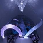 Ian Douglas-Jones and Ben Rousseau relax in the main Ice Hotel gallery ©Rousseau Design & I-N-D-J