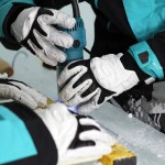 Using Makita power tools on the ice to create The Legacy of the River Suite ©Rousseau Design & I-N-D-J