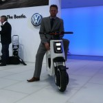 VW Asia design director Simon Loasby and e-scooter at Auto Shanghai