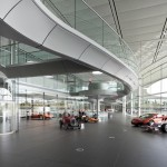 McLaren Technology Centre and F1 cars on exhibition