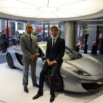 Lewis Hamilton and Jenson Button at the opening of London McLaren dealership at One Hyde Park