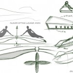 Lounge chair sketches by Giuseppe Conca