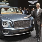 Design director Dirk van Braekel and the Bentley EXP 9F SUV concept car at the Geneva Motor Show