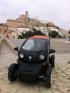 Driving the Renault Twizy in Ibiza old town