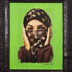 Saida in Green - Artist: Hassan Hajjaj 2000 - Copyright V&A. Art Fund Collection of Middle Eastern Photography at the V&A and the British Museum for Light from the Middle East: New Photography