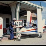 007's AcroStar jet stops to fuel up at a gas station. The world's smallest jet boasts a top speed of 496 Km/h and a ceiling of 9000 m. ©1983 Danjaq, LLC and United Artists Corporation. All rights reserved