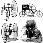 The Rudge Coventury Rotary and Carrier Tricycle, and below the Singer Omnicycle and Starley and Sutton Meteor of 1883. Copywrite MIT Press