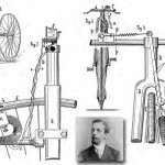 illustration of Richard Weber tire-driver dynamo lighting system from his drawings of 1886