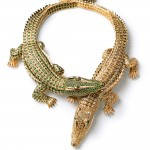 Crocodile necklace made as a special order for María Félix. Cartier Paris, special order, 1975. Gold, diamonds, emeralds, rubies; Length 30 cm. and 27.3 cm. Cartier Collection. Photo: Nick Welsh, Cartier Collection © Cartier