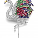 Flamingo brooch worn by the Duchess of Windsor. Cartier Paris, special order, 1940. Platinum, diamonds, emeralds, rubies, sapphires, citrine; 9.65 x 9.59 cm. Cartier Collection. Photo: Nils Herrmann, Cartier Collection © Cartier