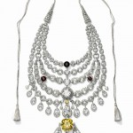 Necklace created for Sir Bhupindra Singh, Maharaja of Patiala. Cartier Paris, special order, 1928. Platinum, diamonds, zirconias, topazes, synthetic rubies, smoky quartz, citrine; Height at center: 27 cm. Cartier Collection. Photo: Nick Welsh, Cartier Collection © Cartier