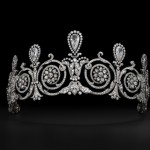 Tiara worn by Mrs. Townsend. Cartier Paris, special order, 1905. Platinum, diamonds; Height at center 9.8 cm. Provenance: Mary Scott Townsend and Mrs. Donald McElroy. Cartier Collection. Photo: Vincent Wulveryck, Cartier Collection © Cartier