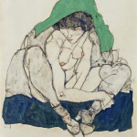 Egon Schiele (1890-1918) Crouching Woman with Green Kerchief, 1914 (c)The Leopold Museum, Vienna