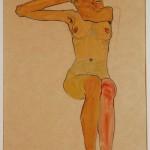 Egon Schiele (1890-1918)Seated Female Nude with Raised Arm (Gertrude Schiele), 1910 (c)The Wien Museum, Vienna