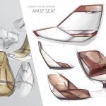 Aston Martin Quintessence Yachts AM37 Speedboat sketching the seat design