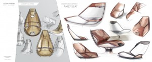 Aston Martin Quintessence Yachts AM37 Speedboat sketching the seat design