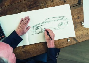 Ian Callum sketching the Jaguar F-Pace 2015