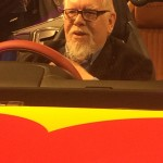 Sir Sir Peter Blake inside the pop art car