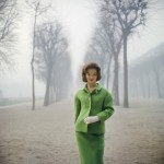 'Henrietta Tiarks Among The Trees' sees Mark Shaw capture the Duchess of Bedford as she models a green suit by Jules François Crahay of Nina Ricci at Palais Royale, Paris 1959. Copyright © Mark Shaw/mptvimages.com