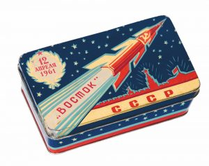 Vostok 1 confectionery tin, 1960s. Picture credit: courtesy and copyright © Moscow Design Museum