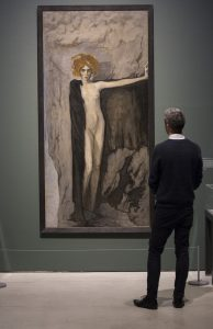 Modern Couples: Art, Intimacy and the Avant-garde Installation view featuring Romaine Brooks, Portrait of Luisa Casati, 1920 Barbican Art Gallery 10 October 2018 – 27 January 2019 © John Phillips / Getty Images
