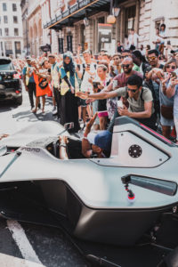 Usher kicks off the 2018 Gumball 3000 in London behind the wheel of a BAC Mono