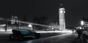 The August Shiva Carbonell Reynes taxi lights up London's grey cityscape
