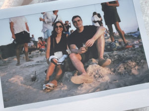 A snapshot taken by polaroid as the sun sets in Formentera